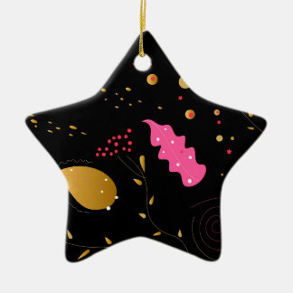 Amazing handdrawn Artistic Collection BLACK FOLK Ceramic Star Decoration