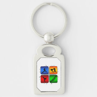 Amazing Karate Urban Style Silver-Colored Rectangle Key Ring