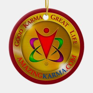 Amazing Karma Gold Coin Logo Round Ceramic Decoration