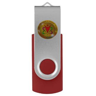 Amazing Karma Gold Coin Logo Swivel USB 2.0 Flash Drive