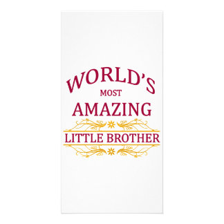 Amazing Little Brother Personalised Photo Card