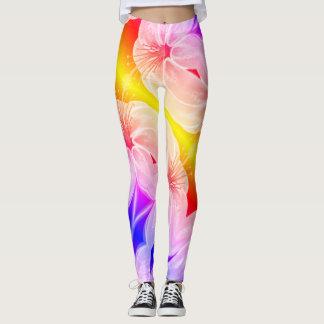 Amazing multicolored lily flower leggings