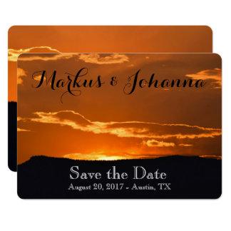 Amazing orange mountain sunset invitation