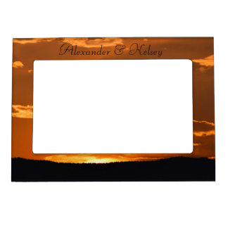 Amazing orange sunset mountain picture frame magnetic picture frame