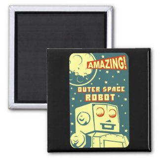 Amazing Outer Space Robot Square Magnet