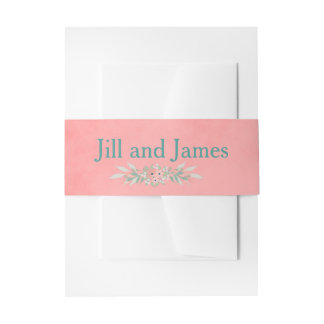 Amazing Pink Wedding Floral Invitation Belly Band