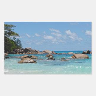 amazing seychelles rectangular sticker