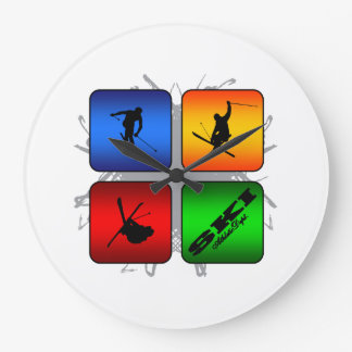 Amazing Ski Urban Style Large Clock
