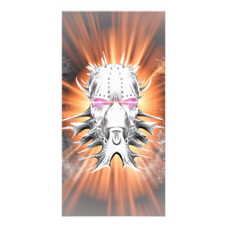 Amazing skull made of metal with glowing eyes custom photo card