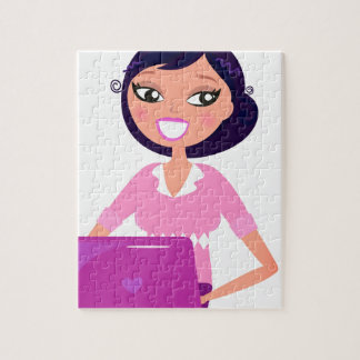 Amazing stylish Lady with Computer purple Jigsaw Puzzle