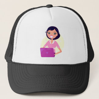 Amazing stylish Lady with Computer purple Trucker Hat