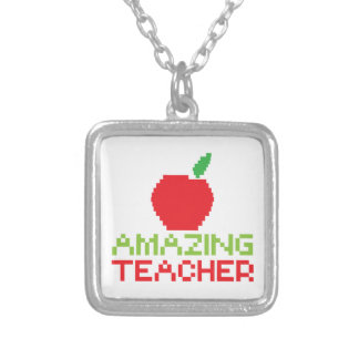 AMAZING TEACHER with digital apple Silver Plated Necklace