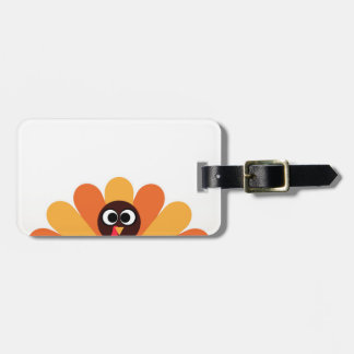 Amazing turkey in brown, yellow luggage tag