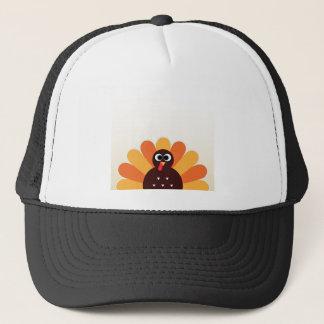 Amazing turkey in brown, yellow trucker hat