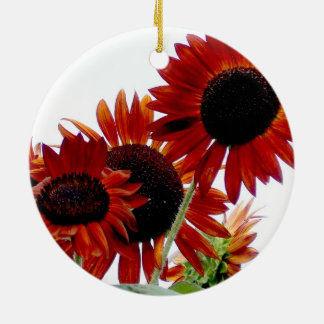 Amazing Vivid Red Autumn Beauty Sunflowers Round Ceramic Decoration
