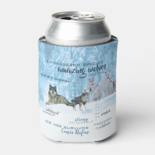 Amazing Wolves Typography   Personalised Can Cooler
