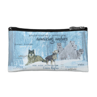 Amazing Wolves Typography | Personalized Cosmetic Bag