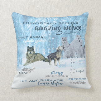 Amazing Wolves Typography   Personalized Cushion