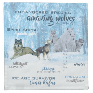 Amazing Wolves Typography | Personalized Napkin