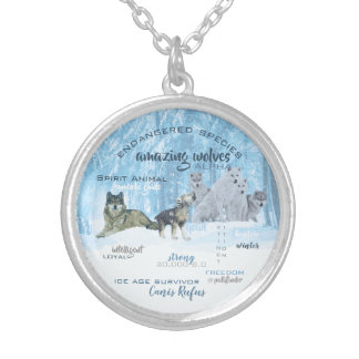 Amazing Wolves Typography   Personalized Silver Plated Necklace