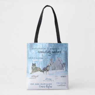 Amazing Wolves Typography | Personalized Tote Bag