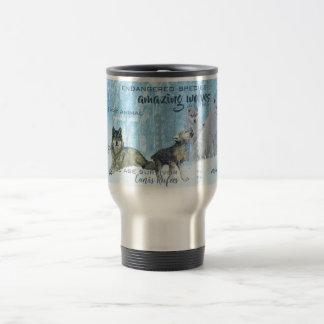 Amazing Wolves Typography   Personalized Travel Mug