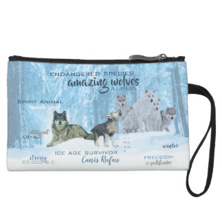 Amazing Wolves Typography | Personalized Wristlet