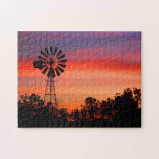 Amazingly Colorful Dawn Sunrise Windmill Jigsaw Puzzle