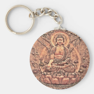 Amazingly Detailed Copper Buddha Basic Round Button Key Ring