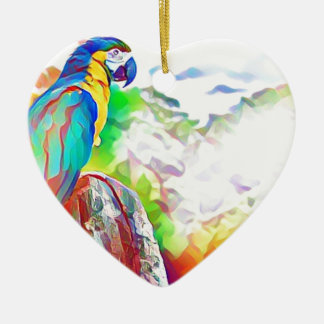 Amazon Bird Ceramic Heart Decoration