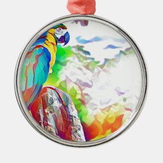 Amazon Bird Silver-Colored Round Decoration