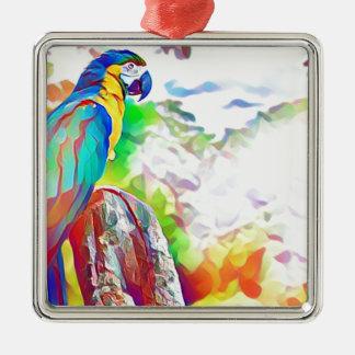 Amazon Bird Silver-Colored Square Decoration