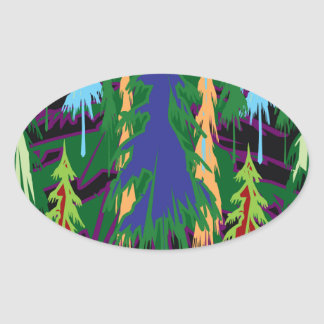 Amazon Dense Forest Trees Abstract Art on Gifts Oval Sticker