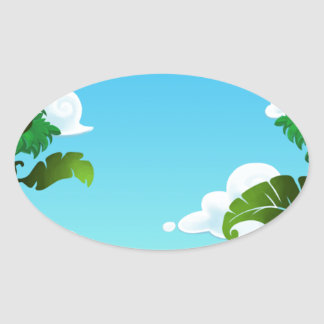 Amazon Forest Painting Oval Stickers