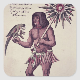 Amazon Indian, engraved by Theodore de Bry Square Sticker