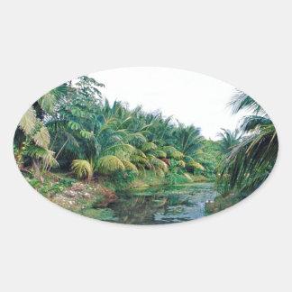 Amazon Jungle River Landscape Oval Sticker
