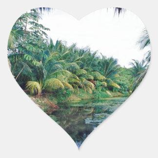 Amazon Jungle River Landscape Heart Stickers