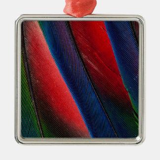 Amazon parrot feather design Silver-Colored square decoration