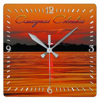 Amazon River Sunset Wall Clock