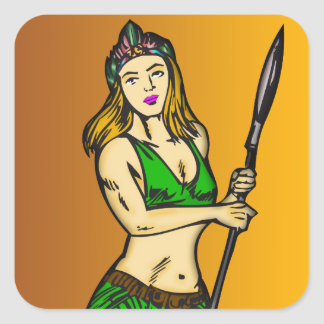 Amazon Women Queen Square Sticker
