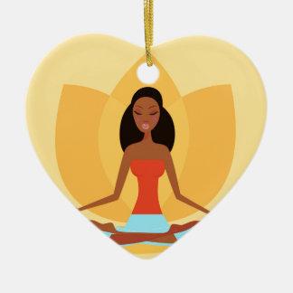 AMAZONIC YOGA PRINCESS WELLNESS GIRL YELLOW CERAMIC HEART DECORATION