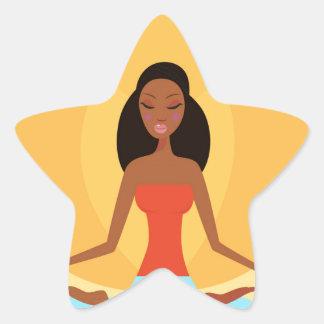 AMAZONIC YOGA PRINCESS WELLNESS GIRL YELLOW STAR STICKER
