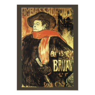Ambassadeurs Aristide Bruant by Toulouse Lautrec 13 Cm X 18 Cm Invitation Card