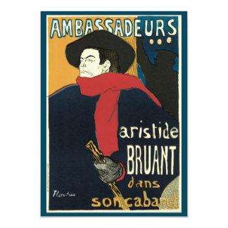 Ambassadeurs: Artistide Bruant by Toulouse Lautrec 13 Cm X 18 Cm Invitation Card