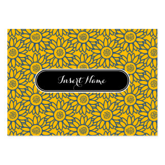 Amber and Blue Sunflower Pattern Pack Of Chubby Business Cards