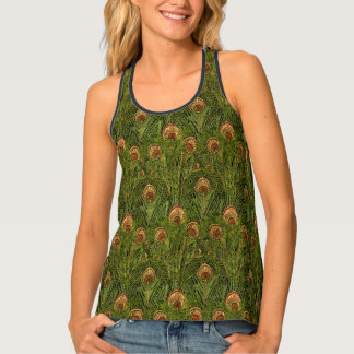 Amber and Green Peacock Feathers Tank Top