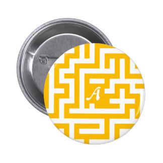 Amber and White Maze Monogram Button
