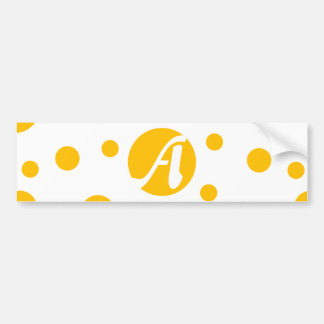 Amber and White Polka Dots Monogram Bumper Stickers