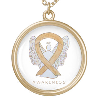 Amber Awareness Ribbon Angel Jewelry Necklace
