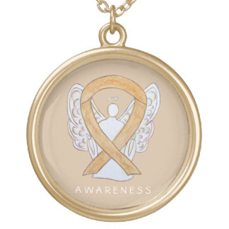 Amber Awareness Ribbon Angel Jewelry Necklace